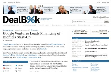 http://dealbook.nytimes.com/2011/03/17/google-ventures-leads-funding-of-biofuels-start-up/
