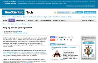 http://www.newscientist.com/article/mg21228346.500-keeping-a-lid-on-your-digital-dna.html