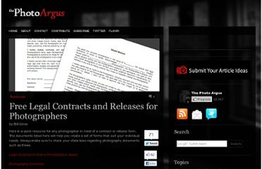 http://www.thephotoargus.com/resources/free-legal-contracts-and-releases-for-photographers/