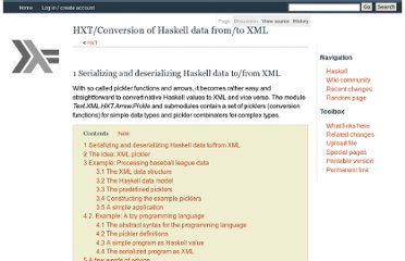 http://www.haskell.org/haskellwiki/HXT/Conversion_of_Haskell_data_from/to_XML
