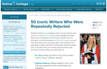 http://www.onlinecollege.org/2010/05/17/50-iconic-writers-who-were-repeatedly-rejected/
