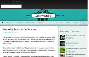 http://listverse.com/2008/05/05/top-10-myths-about-the-romans/