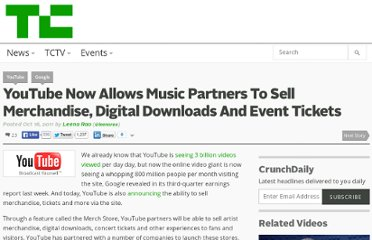 http://techcrunch.com/2011/10/16/youtube-now-allows-music-partners-to-sell-merchandise-digital-downloads-and-event-tickets/