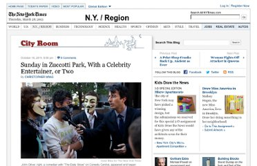 http://cityroom.blogs.nytimes.com/2011/10/16/sunday-in-zuccotti-park-with-entertainment-and-a-celebrity-entertainer-or-two/