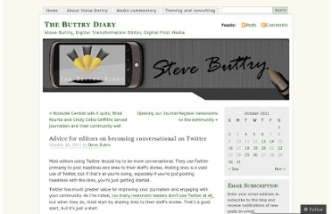 http://stevebuttry.wordpress.com/2011/10/16/advice-for-editors-on-becoming-conversational-on-twitter/