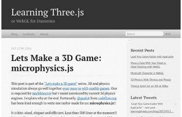 http://learningthreejs.com/blog/2011/10/17/lets-make-a-3d-game-microphysics-js/