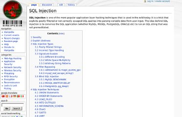 http://hakipedia.com/index.php/SQL_Injection