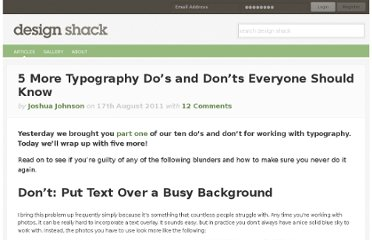 http://designshack.net/articles/typography/5-more-typography-do%e2%80%99s-and-don%e2%80%99ts-everyone-should-know/
