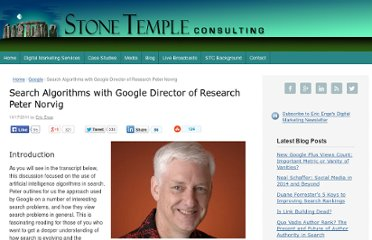 http://www.stonetemple.com/search-algorithms-with-google-director-of-research-peter-norvig/