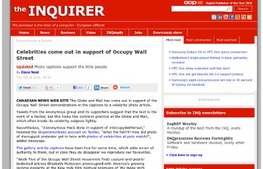 http://www.theinquirer.net/inquirer/news/2116930/celebrities-support-occupy-wall-street