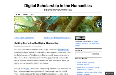 http://digitalscholarship.wordpress.com/2011/10/14/getting-started-in-the-digital-humanities/