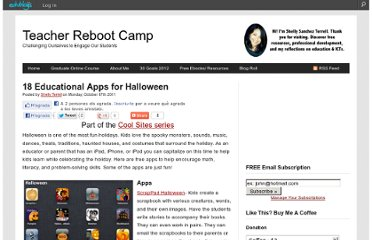 http://teacherbootcamp.edublogs.org/2011/10/17/18-educational-apps-for-halloween/