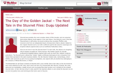 http://blogs.mcafee.com/mcafee-labs/the-day-of-the-golden-jackal-%e2%80%93-further-tales-of-the-stuxnet-files