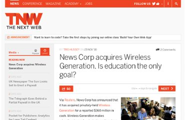 http://thenextweb.com/media/2010/11/23/news-corp-acquires-wireless-generation-is-education-the-only-goal/
