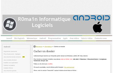 http://r0ma1n2g.e-monsite.com/pages/informatique/mettre-un-code-et-cacher-un-dossier.html