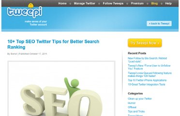 http://tweepi.com/blog/2011/10/10-top-seo-twitter-tips-for-better-search-ranking/