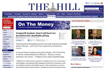 http://thehill.com/blogs/on-the-money/domestic-taxes/188367-nonprofit-leaders-dont-roll-back-tax-incentives-for-charitable-giving