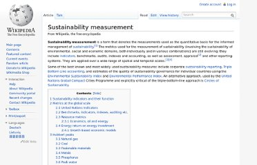 http://en.wikipedia.org/wiki/Sustainability_measurement
