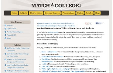 http://www.matchacollege.com/blog/2009/100-best-bookmarklets-for-writers-researchers-and-students/
