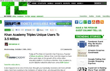 http://techcrunch.com/2011/10/19/khan-academy-triples-unique-users-to-3-5-million/