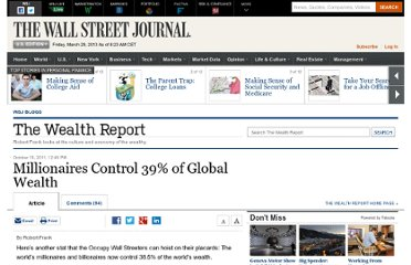 http://blogs.wsj.com/wealth/2011/10/19/millionaires-control-39-of-global-wealth/