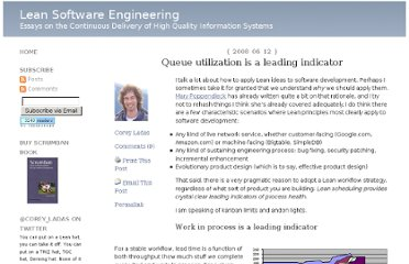 http://leansoftwareengineering.com/2008/06/12/queue-utilization-is-a-leading-indicator/