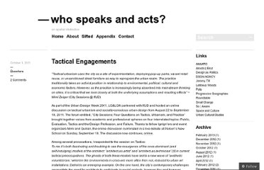 http://whospeaksandacts.wordpress.com/2011/10/01/tactical-engagements/