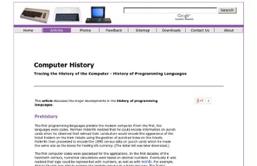 http://www.computernostalgia.net/articles/HistoryofProgrammingLanguages.htm