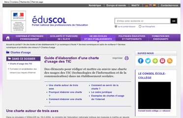 http://eduscol.education.fr/cid57095/guide-charte-d-usage.html