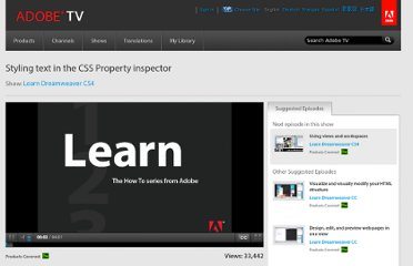 http://tv.adobe.com/watch/learn-dreamweaver-cs4/styling-text-in-the-css-property-inspector/