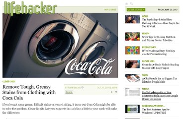 http://lifehacker.com/5851799/remove-tough-greasy-stains-from-clothes-with-coca-cola