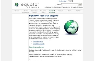 http://www.equator-network.org/research-projects/