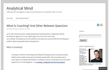 http://analytical-mind.com/2010/01/20/what-is-coaching-and-other-relevant-questions/