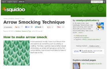 http://www.squidoo.com/arrow-smocking-technique