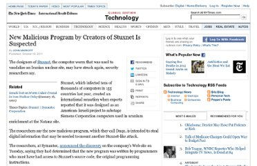http://www.nytimes.com/2011/10/19/technology/stuxnet-computer-worms-creators-may-be-active-again.html?_r=1&partner=rss&emc=rss