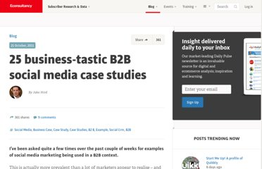 http://econsultancy.com/blog/8148-25-business-tastic-b2b-social-media-case-studies