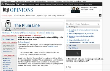 http://www.washingtonpost.com/blogs/plum-line/post/mitt-romneys-unexplored-vulnerability-his-millionaire-tax-rate/2011/10/20/gIQAsQp70L_blog.html