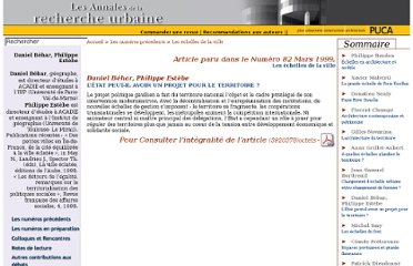 http://www.annalesdelarechercheurbaine.fr/article.php3?id_article=256