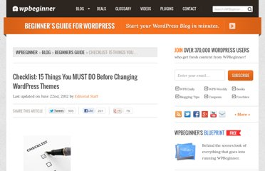 http://www.wpbeginner.com/beginners-guide/checklist-15-things-you-must-do-before-changing-wordpress-themes/