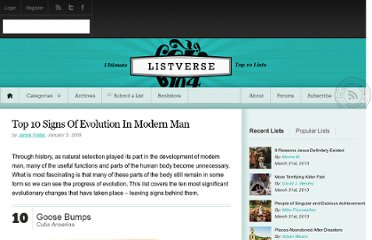 http://listverse.com/2009/01/05/top-10-signs-of-evolution-in-modern-man/