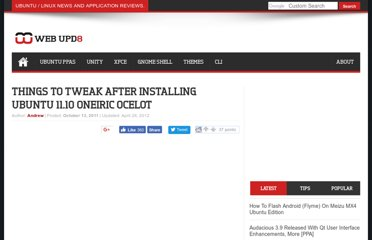 http://www.webupd8.org/2011/10/things-to-tweak-after-installing-ubuntu.html