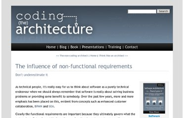 http://www.codingthearchitecture.com/2007/07/09/the_influence_of_non_functional_requirements.html