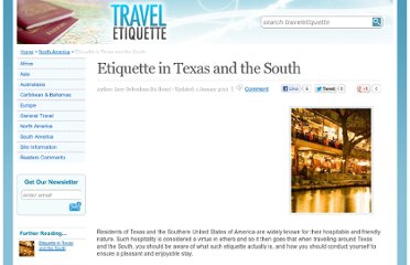 http://www.traveletiquette.co.uk/etiquettetexassouth.html
