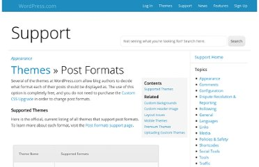 http://en.support.wordpress.com/themes/post-formats/