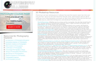 http://www.photography-colleges.org/50-photoshop-resources/