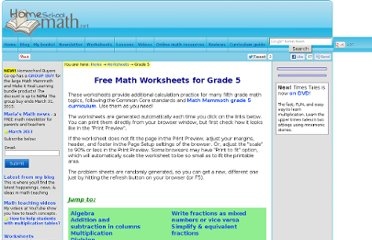 http://www.homeschoolmath.net/worksheets/grade_5.php