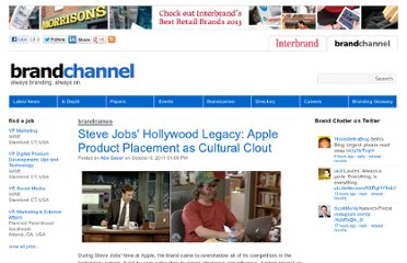 http://www.brandchannel.com/home/post/2011/10/06/Steve-Jobs-Legacy-on-Hollywood-Apple-Product-Placement.aspx