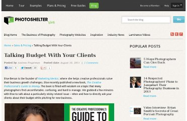 http://blog.photoshelter.com/2011/08/talking-budget-with-your-clients/