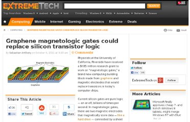 http://www.extremetech.com/computing/98801-spin-based-graphene-magnetologic-gates-could-replace-silicon-transistor-logic