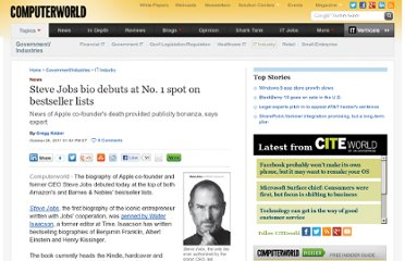 http://www.computerworld.com/s/article/9221149/Steve_Jobs_bio_debuts_at_No._1_spot_on_bestseller_lists